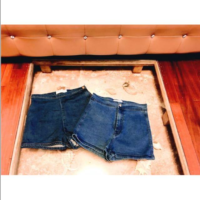 American Apperal歐美單寧牛仔復古高腰短褲