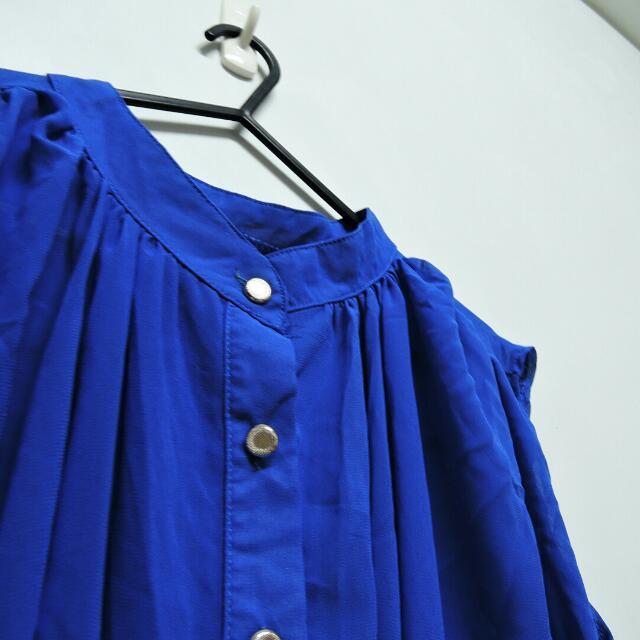 🉑 寶藍色雪紡透膚上衣 (可換物) #交換最划算#女裝九九出清