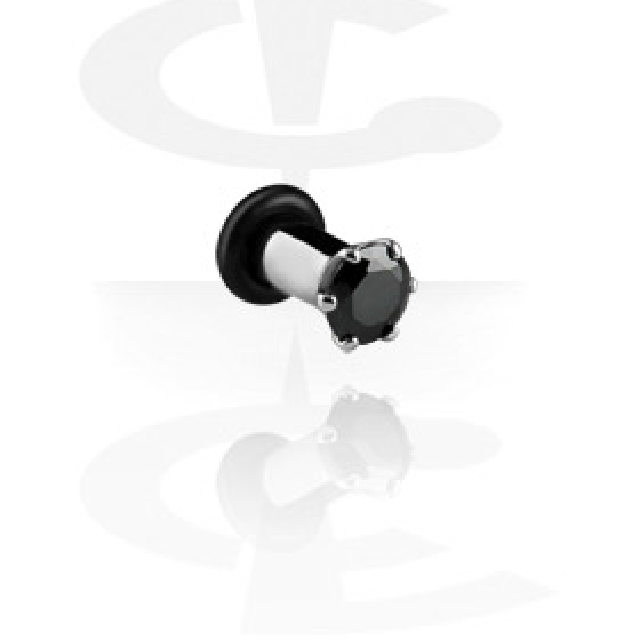 Big Crystal Plugs Set Two Pieces Stone Black Size 4mm Tunnels Surgical Steel Cute