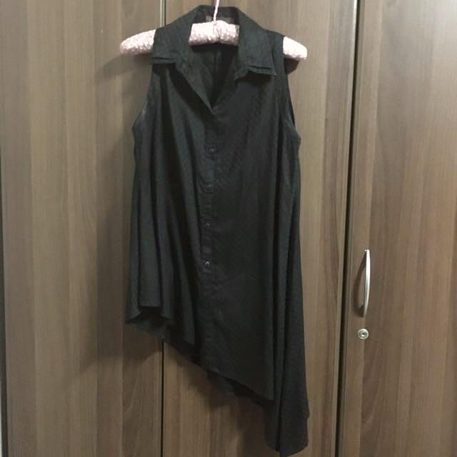 Plains And Prints Black Sleeveless Blouse