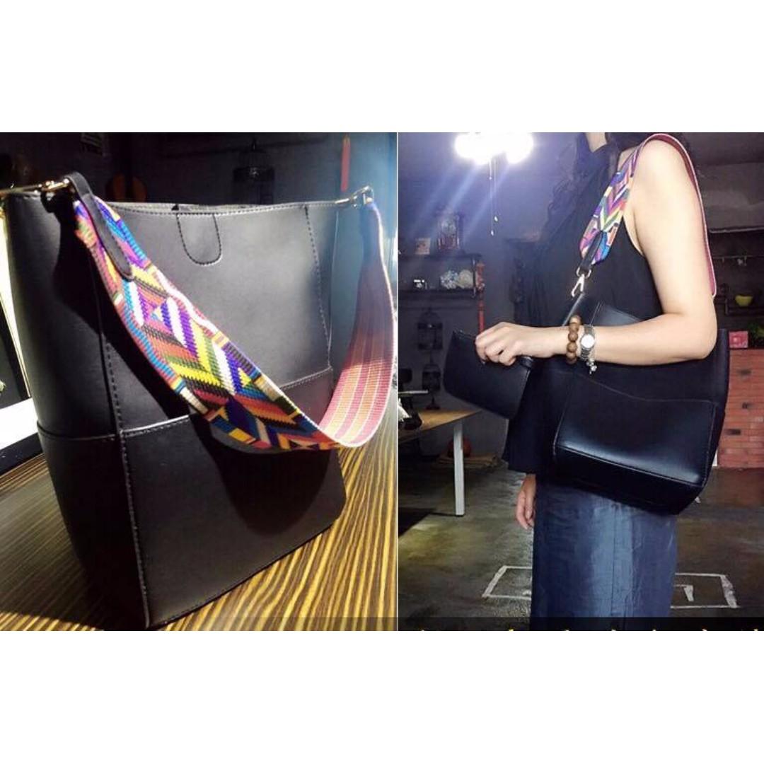 Black Aztec hobo bag