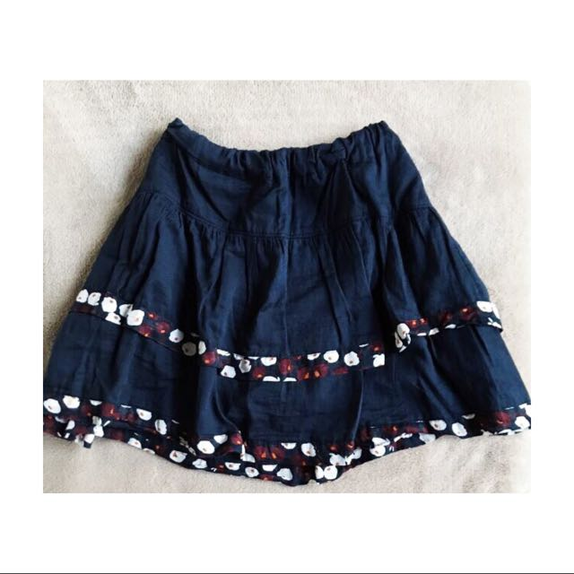 Blue Two Layered Skirt with Floral Patterns