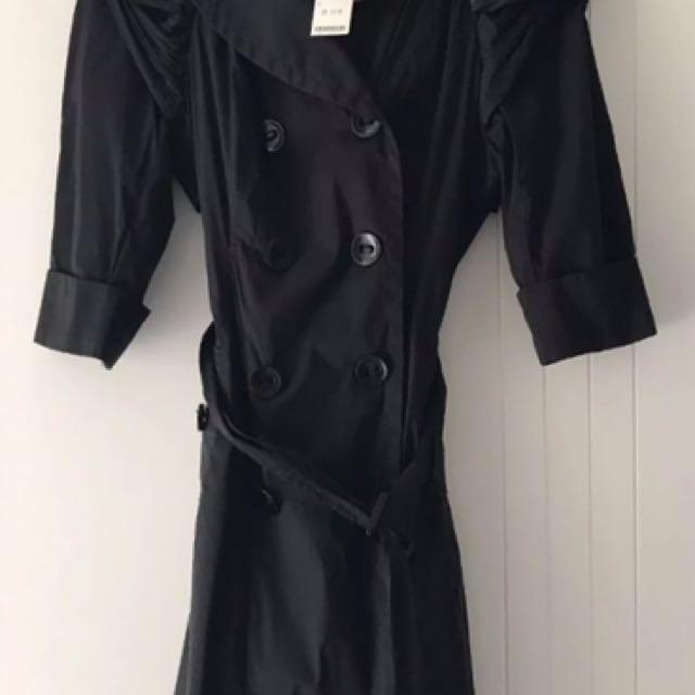 BNWT Bebe Black Trench Coat Jacket, 3/4 Sleeves, Size S (8/10)
