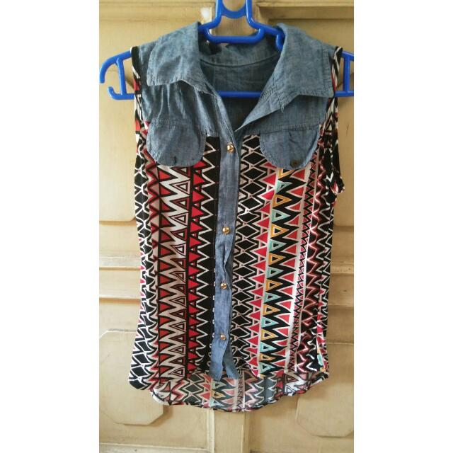 Colorful Sleeveless Blouse