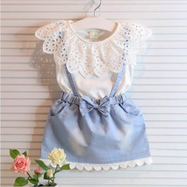 DRESS- WHITE & BLUE