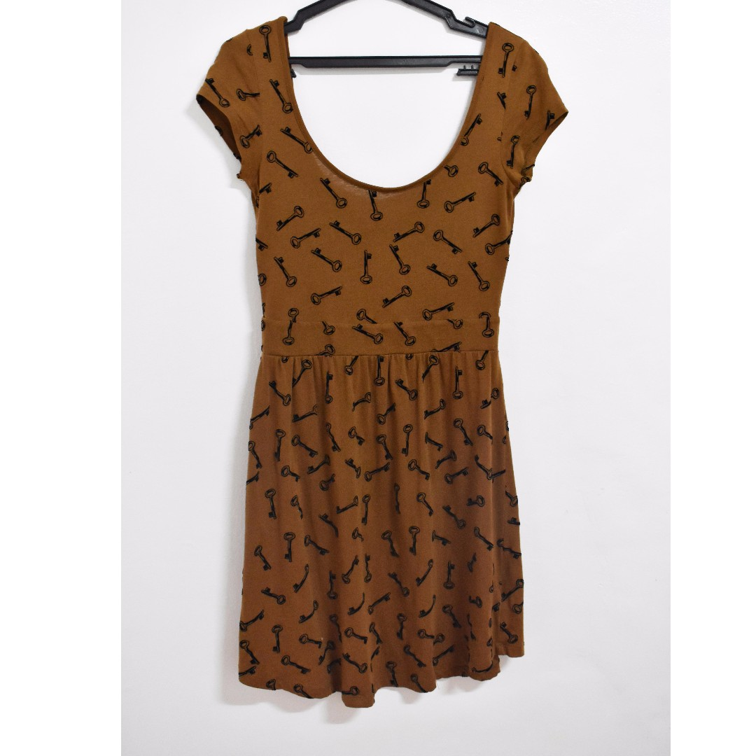 Forever 21 (I Love H81) Brown Sexy Back Dress