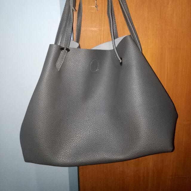 GRAY large stylish bag