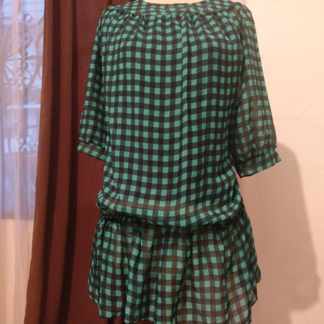 Green Black Checkered Blouse