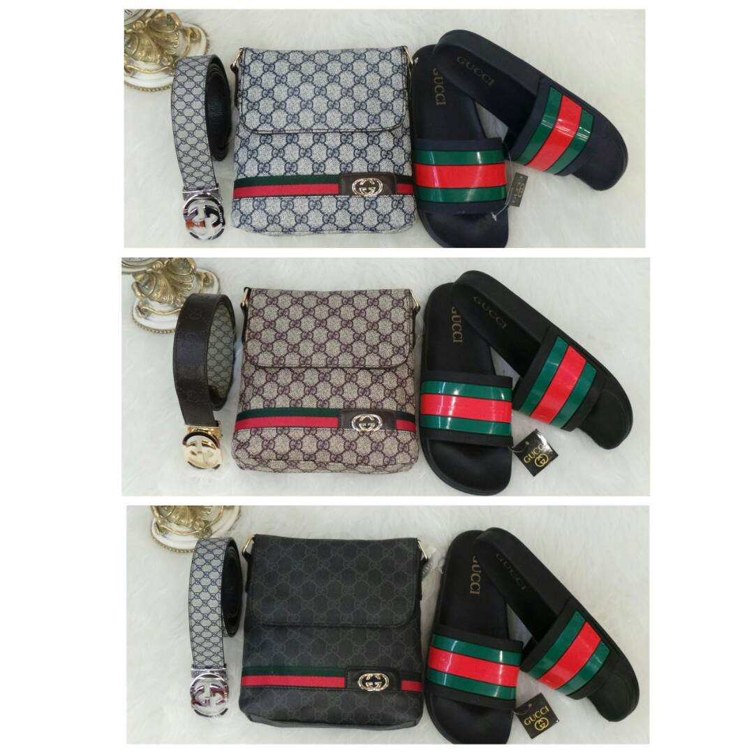 76bd3e6291f2f4 Gucci combo sets ( Sling bag + belt + Sandal), Men's Fashion, Bags & Wallets  on Carousell