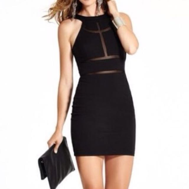 Guess Bodycon Mesh Cutout Dress