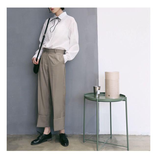 Laconic 氣質簡約棉麻長袖休閒襯衫