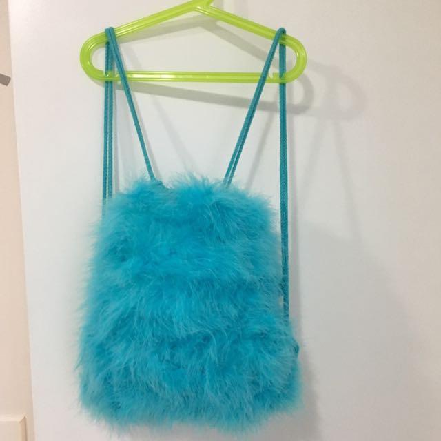 Light Blue FuZzy Backpack