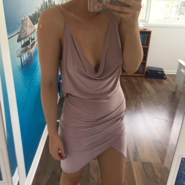 Lilac Scoop Neck And Back Dress