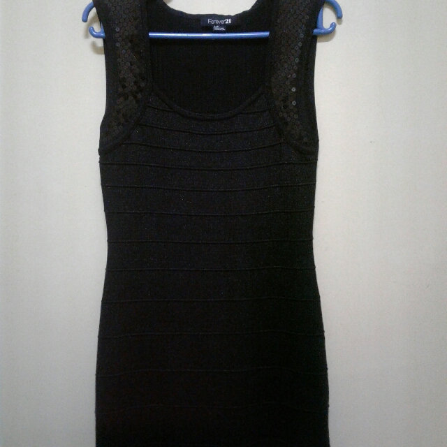 Little Black Dress With Black Sequins By Forever 21 Preloved