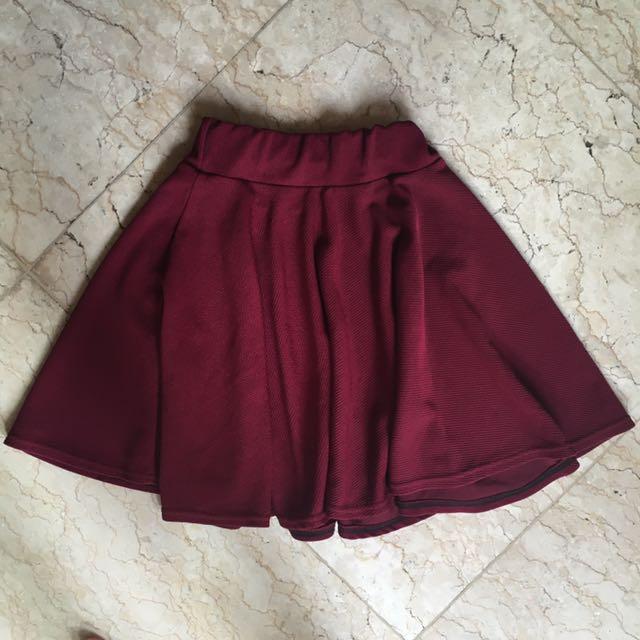 Maroon Flare Skirt