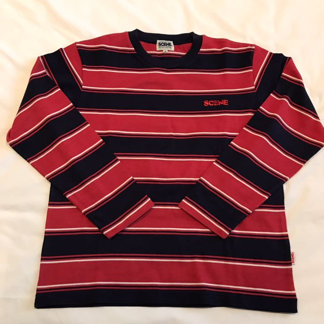 """[NEW] - Size S/M - """"Scene by Ice Fire"""" Red & Blue Stripes Round Neck Jersey Sweater Top - 100% Cotton"""