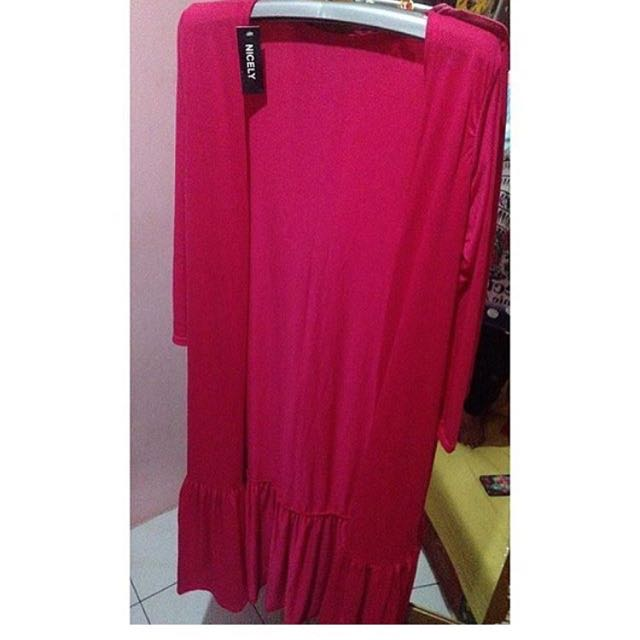 NEW! Long cardi Ruffle Shocking Pink #cintadiskon