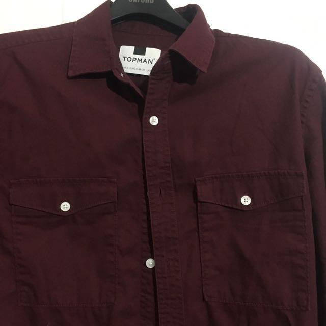 NEW TOPMAN burgundy Shirt Size s