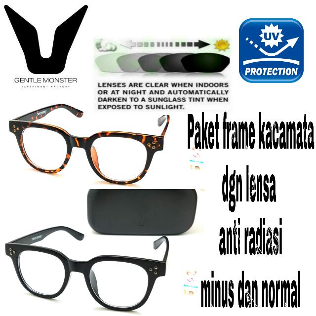 Paket Frame Kacamata Gentle Monster Dgn Lensa Anti Radiasi Minus Dan  Normal 3634cb3a7b