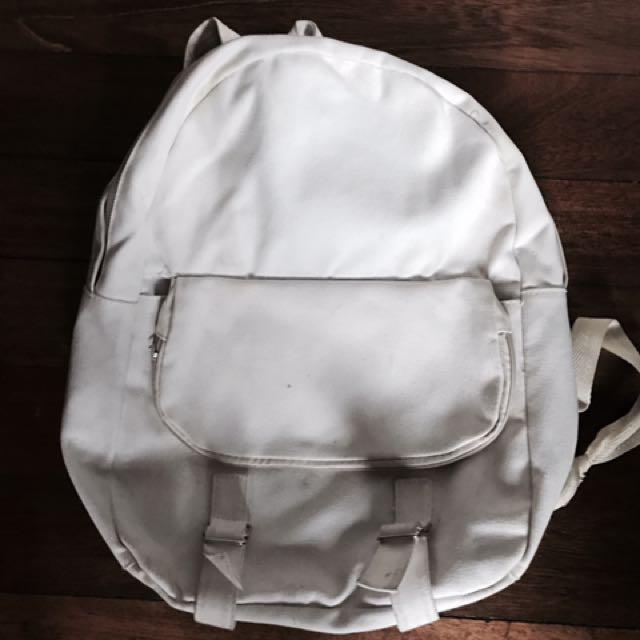 Plain White Backpack