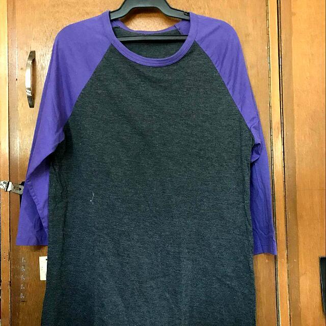 Purple Three Fourths (3/4) Sleeved Shirt