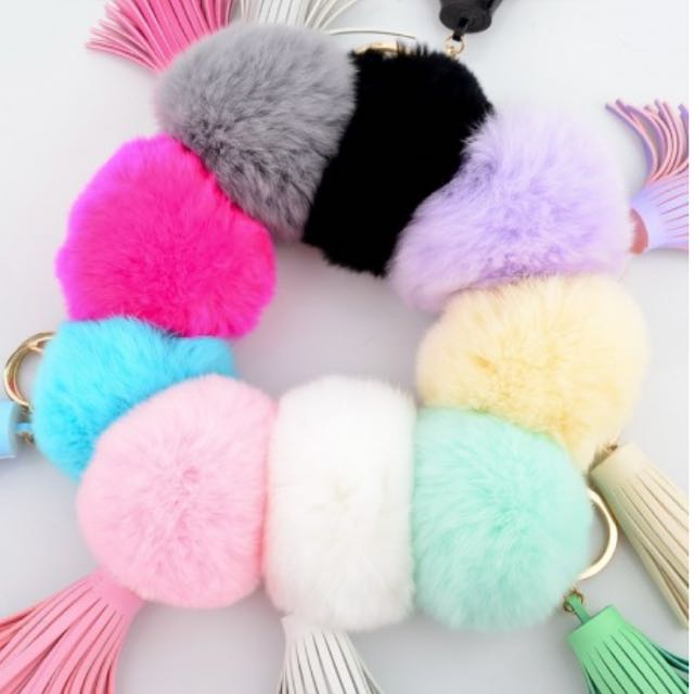 Rabbit Fur Ball Keychain