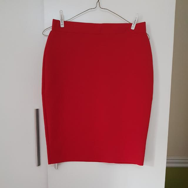 Red Pencil Skirt By Wellworth M