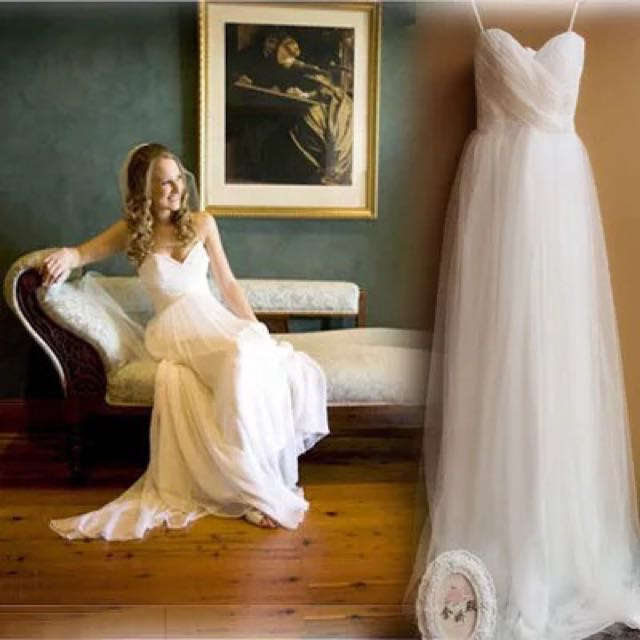 Free Delivery Simple Princess Cut Wedding Gown Floor Length