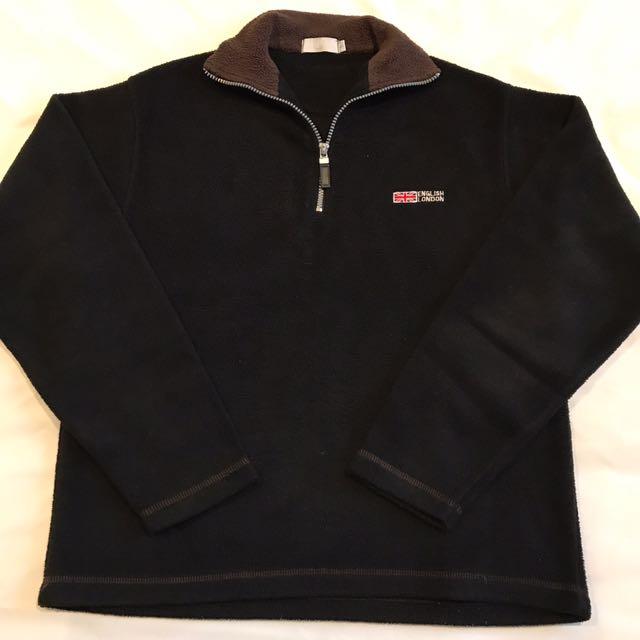 Size S - Black Half Zip Fleece Top with Chocolate Brown Collar