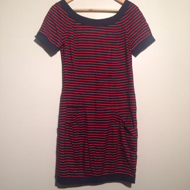 Sz 10 French Connection Red And Black Stripe Dress