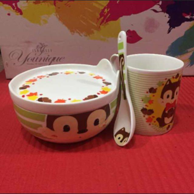 TOPCHOICE 陶瓷 餐具 松鼠 杯子 碗 湯匙