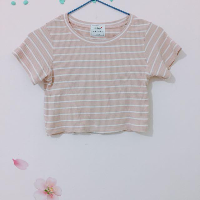 粉色短版條紋T-shirt