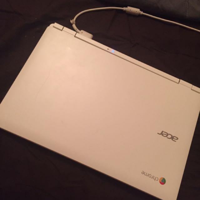 white acer chrome laptop