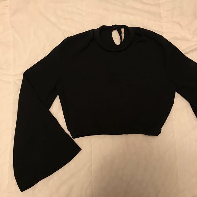 Zara Cropped Black Bell Sleeve Shirt