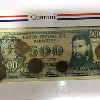 巴拉圭 錢幣套裝 連一張500紙幣 1990年代版