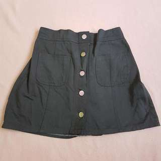 Button Skirt Green Army