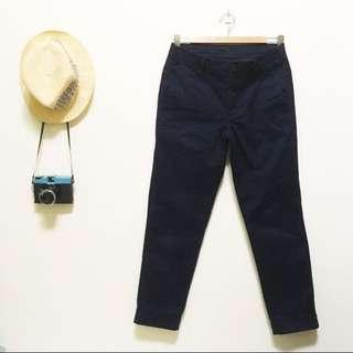 UNIQLO 男裝 時尚九分褲 深藍色 S號