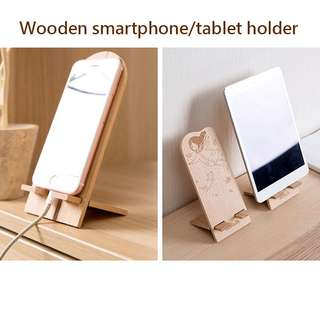 Wooden Cell Phone Stand  Smartphone Tablet Holder