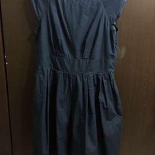 日牌earth花苞袖藏藍純棉洋裝