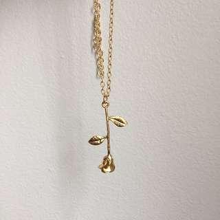 GOLD* upside down rose necklace