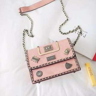 Pink Bag Handbag With Chain And Deco