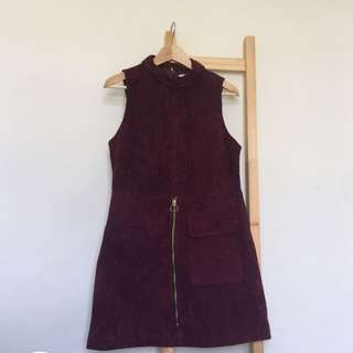 Suede Maroon Dress