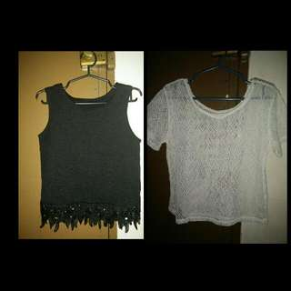 Black top and White crochet