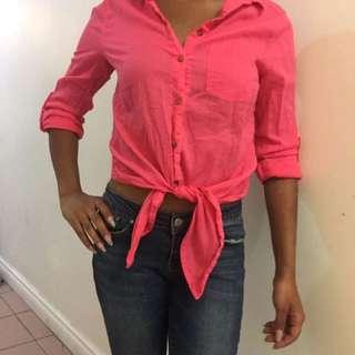 Hot Pink Crop Tie Shirt