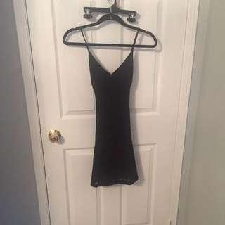 Black Crotchet Detail Dress