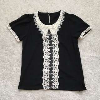Beaded Neckline Black Top
