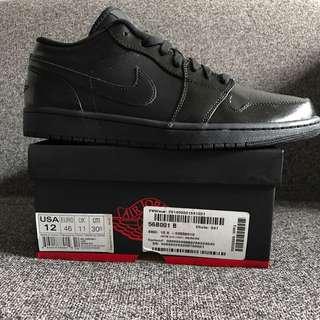 New Air Jordan 1 Low Triple Black US 12