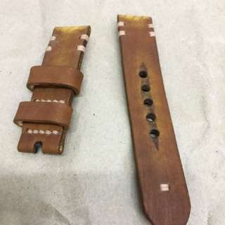 22mm Handmade Vintage Brown Tanned Leather Strap