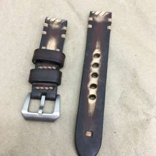 20mm Handmade Vintage Brown Tanned Leather Strap