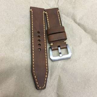 24mm Handmade Vintage Brown Tanned Leather Strap